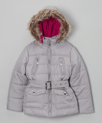 Silver Long Hooded Puffer Jacket - Toddler & Girls
