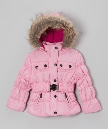 Pink Belted Hooded Puffer Jacket - Toddler & Girls