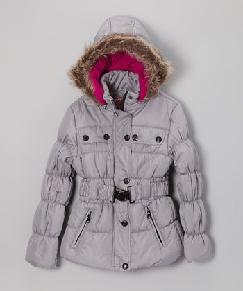 Silver Belted Hooded Puffer Jacket - Girls