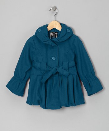 Teal Pleated Bubble Jacket - Girls