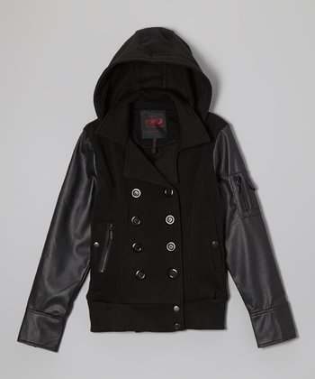 Black Faux Leather Sleeve Coat - Girls