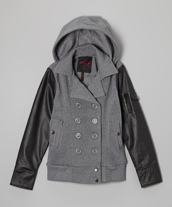 Heather Gray Faux Leather Sleeve Coat - Girls