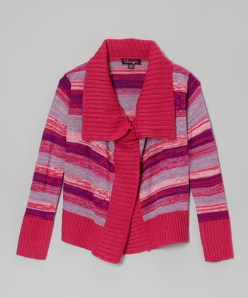 Fuchsia & Orchid Stripe Cardigan - Toddler & Girls