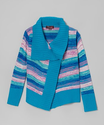 Modern Azure & Jade Ice Stripe Cardigan - Toddler & Girls