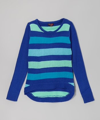 Azure & Turquoise Stripe Hi-Low Sweater - Toddler & Girls