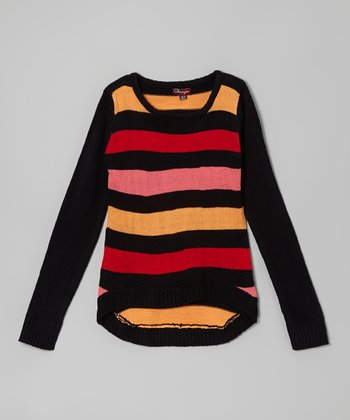 Blackthorn & Red Stripe Hi-Low Sweater - Toddler & Girls