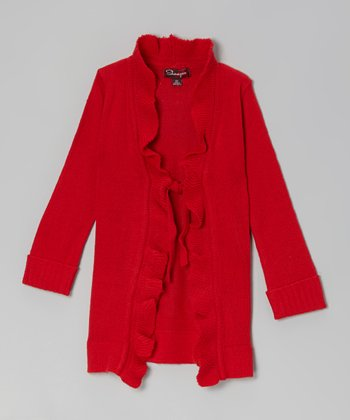 Lollipop Red Ruffle-Front Duster - Toddler & Girls