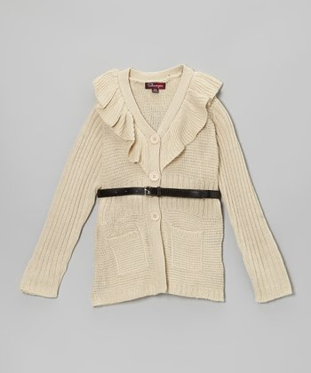 Eggnog Ruffle Belted Cardigan - Toddler & Girls