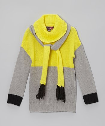Yellow & Glacier Cowl Neck Sweater & Scarf - Toddler & Girls