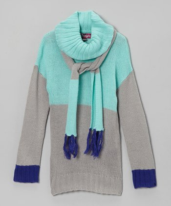 Frosty Turquoise & Glacier Sweater & Scarf - Toddler & Girls