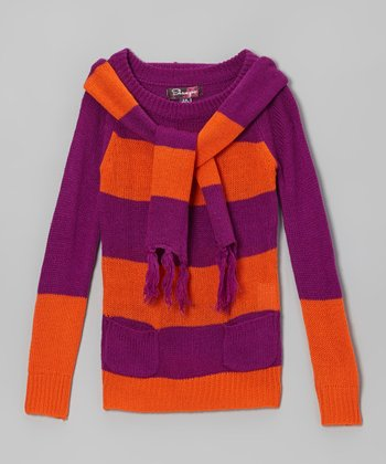 Berry Rose & Poppy Orange Stripe Sweater & Scarf - Toddler & Girls