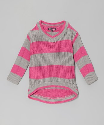 Stolen Pink & Glacier Stripe Hi-Low Sweater - Toddler & Girls