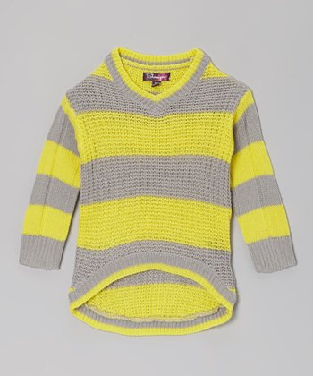 Chrome Yellow & Glacier Stripe Hi-Low Sweater - Toddler & Girls