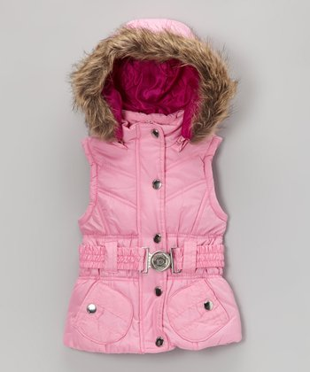 Pink Belted Hooded Puffer Vest - Toddler