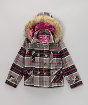 Alberta Plaid Hooded Peacoat - Toddler & Girls