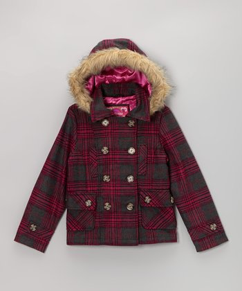 Lilly Plaid Hooded Peacoat - Girls