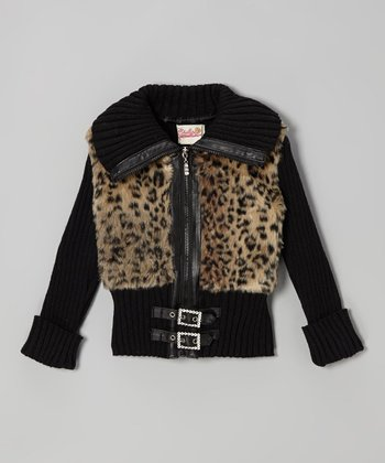 Black & Mustard Brown Faux Fur Buckle Jacket - Toddler & Girls