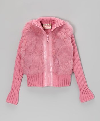 Pink Angora-Blend Zip-Up Jacket - Toddler & Girls
