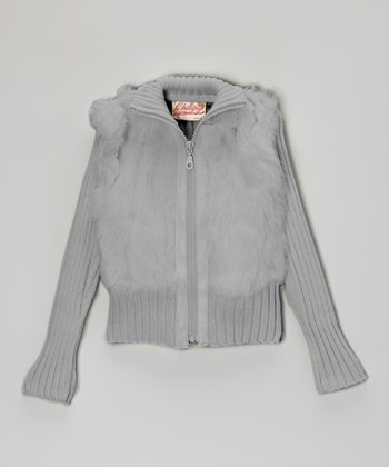 Opal Gray Angora-Blend Zip-Up Jacket - Girls