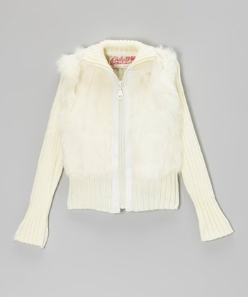Ivory Angora-Blend Zip-Up Jacket - Toddler & Girls
