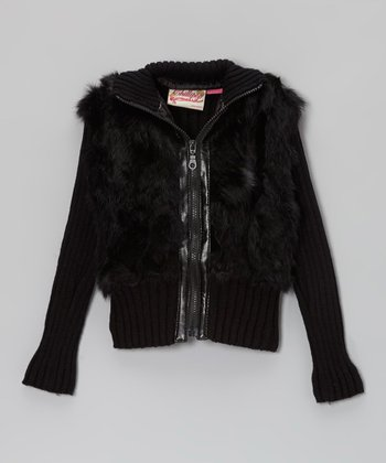 Jet Black Angora-Blend Zip-Up Jacket - Toddler & Girls
