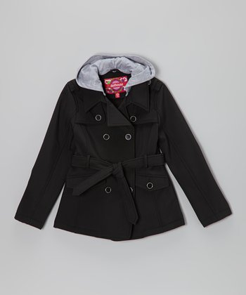 Black Hooded Trench Coat - Toddler & Girls