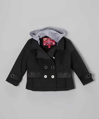 Black Faux Leather-Trim Hooded Peacoat - Toddler & Girls