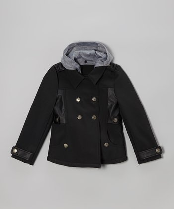 Black Hooded Military Coat - Toddler & Girls
