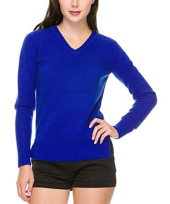 Royal Blue Long-Sleeve V-Neck Top