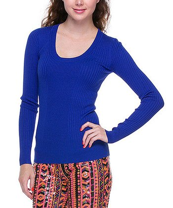 Royal Blue Basic Scoop Neck Sweater
