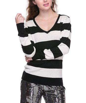Black & White Stripe V-Neck Sweater