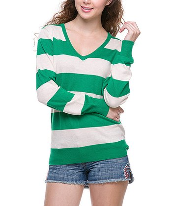 Emerald & White Stripe V-Neck Sweater