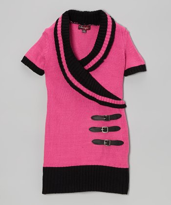 Rose Revival & Black Shawl Collar Sweater Dress - Toddler