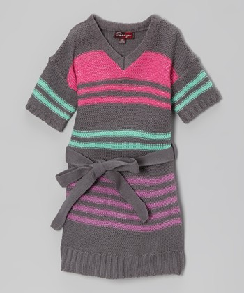 Steel Gray & Jade Stripe Sash-Tie Sweater Dress - Toddler & Girls