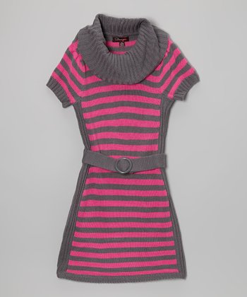 Rose Revival & Steel Gray Stripe Belted Cowl Neck Dress - Girls