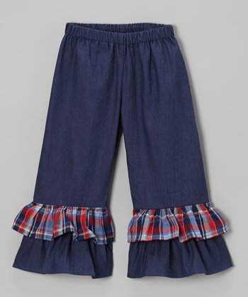 Blue Plaid Chambray Ruffle Pants - Toddler & Girls