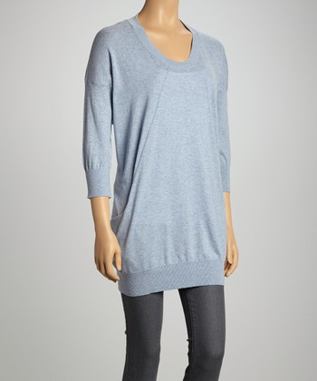 Gray Three-Quarter Sleeve Sweater - Women