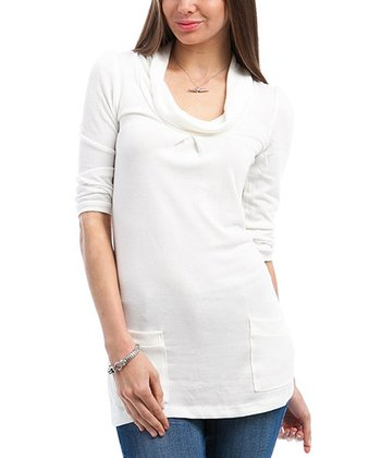 Ivory Half-Sleeve Drape Sweater