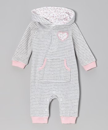 Pink & Gray Velour Hooded Romper - Infant