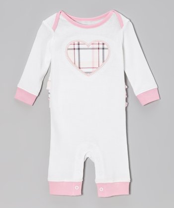 Pink & Cream Heart Ruffle Romper - Infant