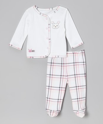 Cream & Pink Bunny Cardigan & Plaid Footie Pants - Infant