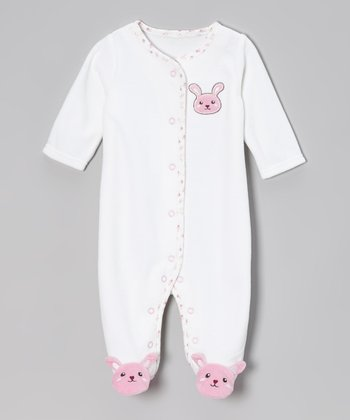 Pink & Cream Velour Bunny Footie - Infant