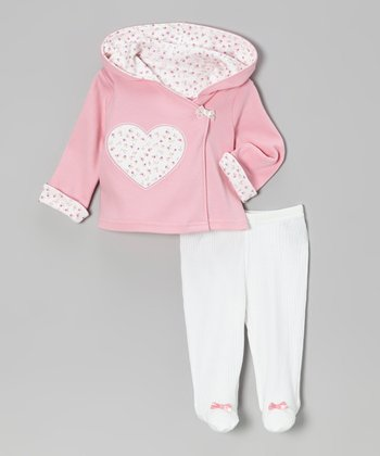 Pink & Cream Velour Hooded Cardigan & Footie Pants - Infant