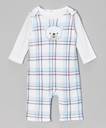 White Tee & Blue Plaid Bear Overalls - Infant