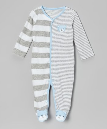 Blue & Gray Stripe Velour Footie - Infant