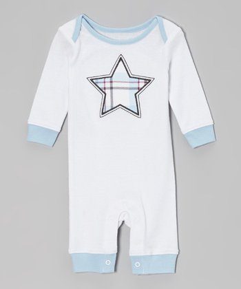 Blue & White Star Ribbed Romper