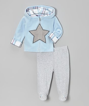 Blue & Gray Star Velour Zip-Up Hoodie & Footie Pants - Infant