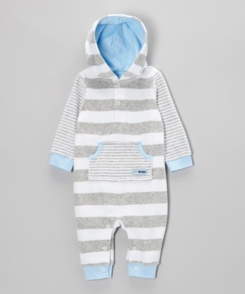 Blue & Gray Stripe Velour Hooded Romper - Infant