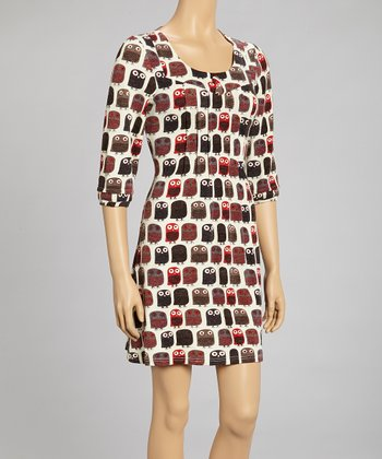 Red & Gray Owl Pleated Scoop Neck Dress