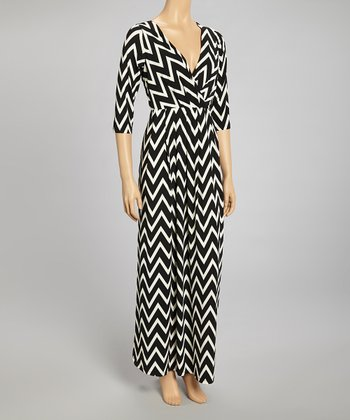 Black & White Zigzag Surplice Maxi Dress